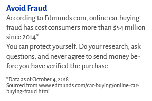 Avoid Fraud According to Edmunds.com, online car buying fraud has cost consumers more than $54 million since 2014*. You can protect yourself. Do your research, ask questions, and never agree to send money before you have verified the purchase.  *Data as of October 4, 2018.  Sourced from www.edmunds.com/car-buying/online-car-buying-fraud.html